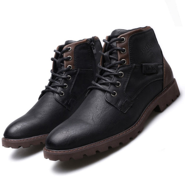 KM Autumn Winter Retro Style Lace Up Boots
