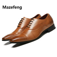Mazefeng Men Leather Oxford Leather Dress Shoes