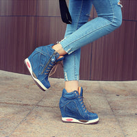 KM Hot New Arrival Women Denim Wedges Sneakers