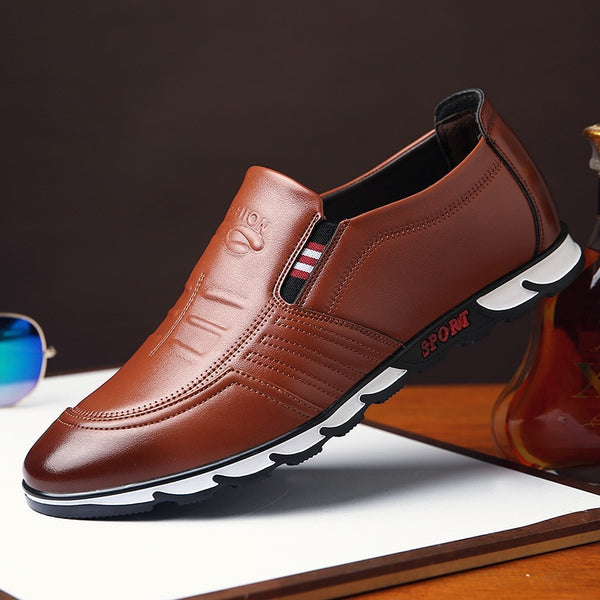 KM Men Casual Loafers Quality Leather Breathable Shoes