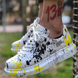 KM Hot New Arrival Women High Quality PU Leather Colorful Graffiti Sneaker