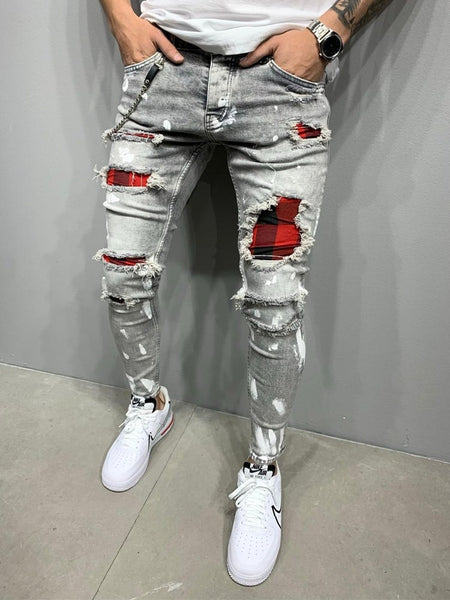 KM New Arrival New Men's Slim-Fit Ripped Pants