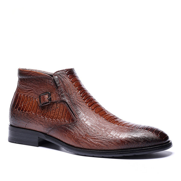 KM Embossed Leather Boots