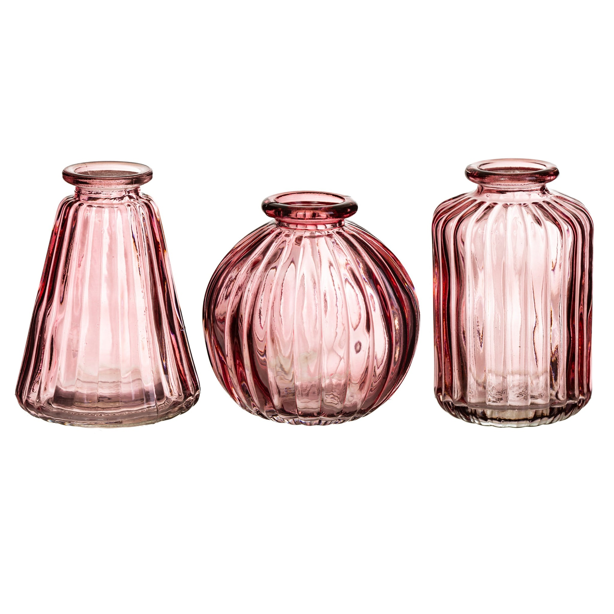 Pink Glass Bud Vases Set of 3