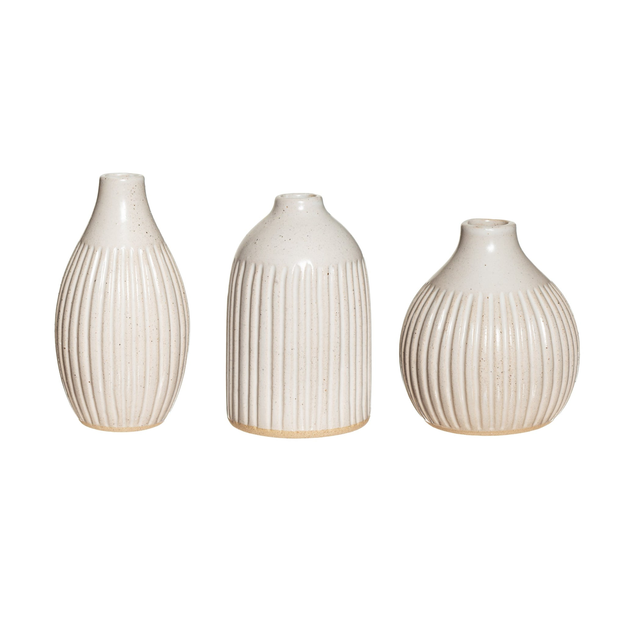 Grooved Bud Vases Set of 3