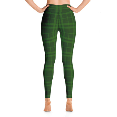 Holiday Green Plaid High Waist Leggings