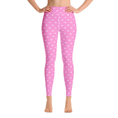 Pink & White Lotus High Waist Leggings