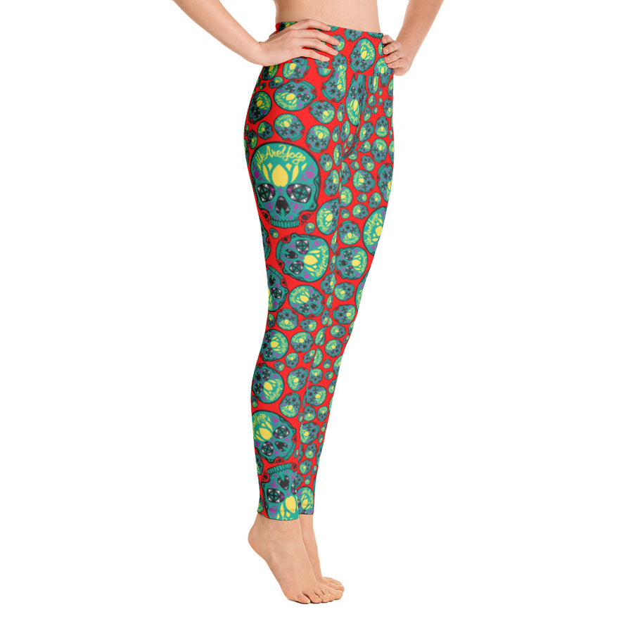WAYskulls Red & Green Leggings