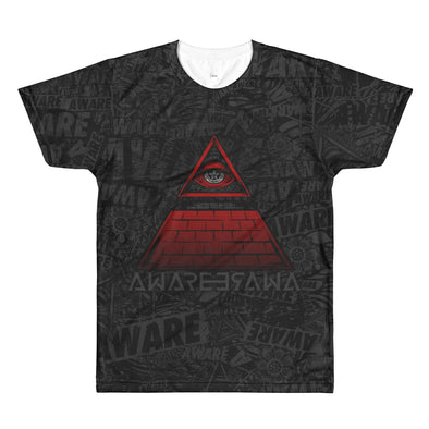 AWARE Grey and Red Tee