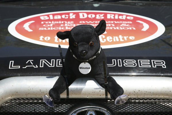 Black Dog Ride Mascot Winston on the 2013 Ride to the Red Centre