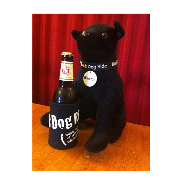 Black Dog Ride Mascot Winston with the all new BDR stubby holder (not included, nor is the beer)!