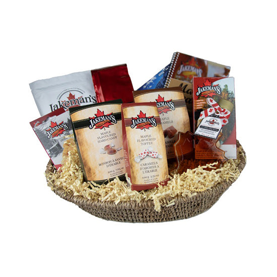 Large gift basket of assorted Jakeman's maple products