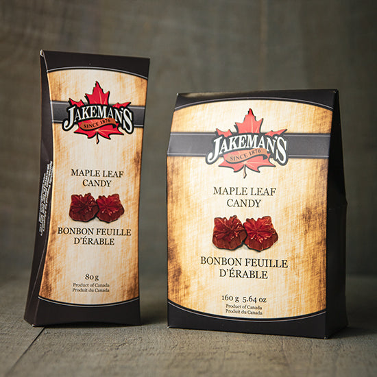 Two boxes of Jakeman's Maple Leaf Candy.