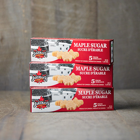 Three boxes of Jakeman's Maple Leaf Sugar 5-pack
