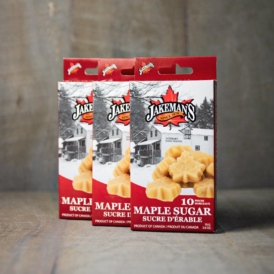 Three boxes of Jakeman's Maple Leaf Sugar 10-pack