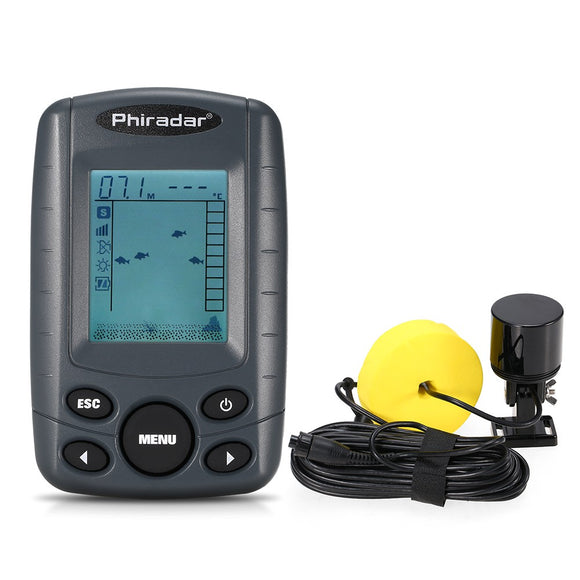 Portable 2.4 Inch LCD Fish Finder 240FT Depth Range Fishing Finder with Wired Sonar Sensor Transducer