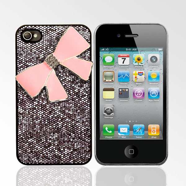 Glitter Case with Pink Rhinestone Bow iPhone 4/4S Cases