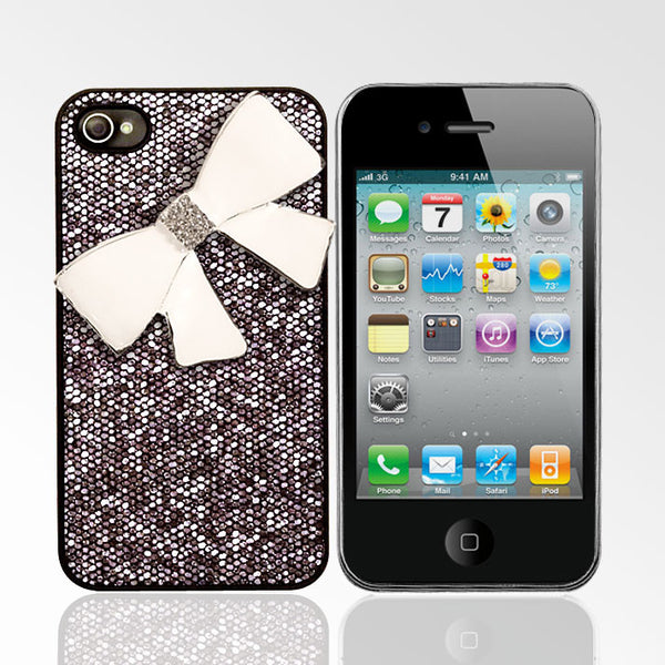 Glitter Case with White Rhinestone Bow iPhone 4/4S Cases