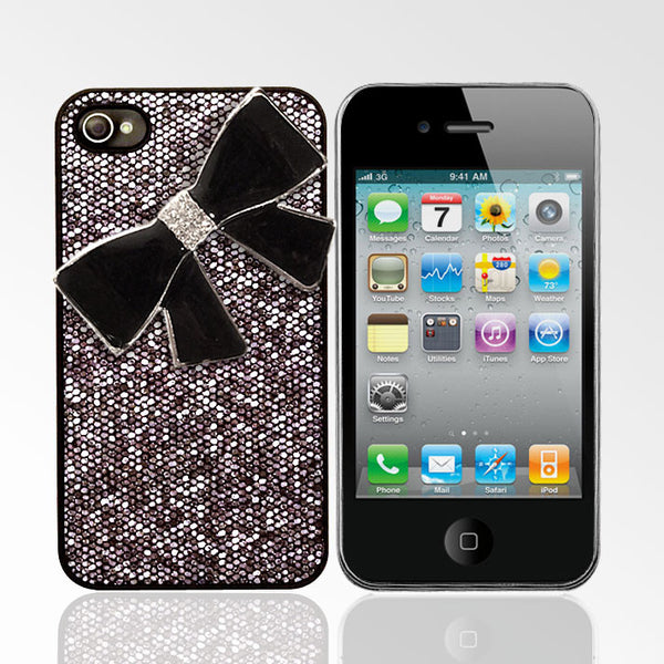 Glitter Case with Black Rhinestone Bow iPhone 4/4S Cases