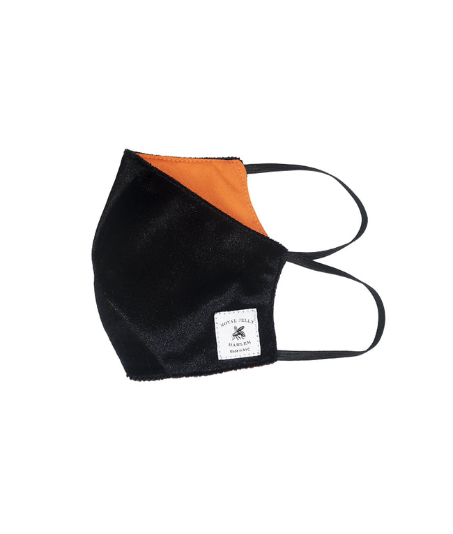 Adult Mask in Black Velvet w/ Orange Lining