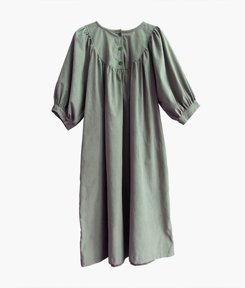 Brienne Dress in Sage Corduroy