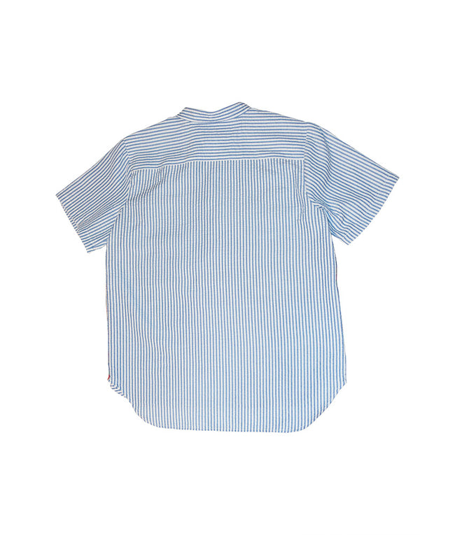 Habibi Pop Over Shirt in Blue Seersucker