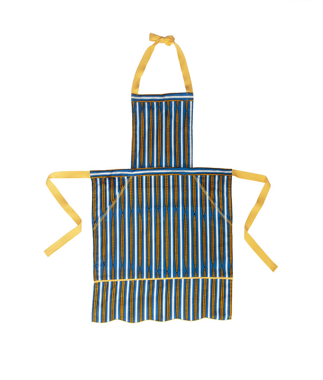 Pom Pom Apron in Blue Corn