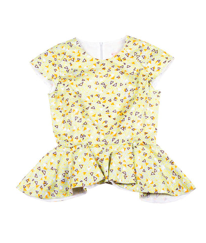Poppy Peplum in Yellow Confetti