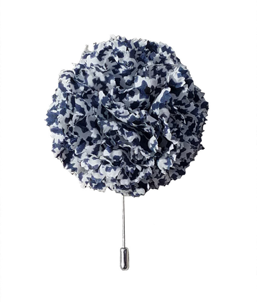 Large Lapel Flower in Blue Stars