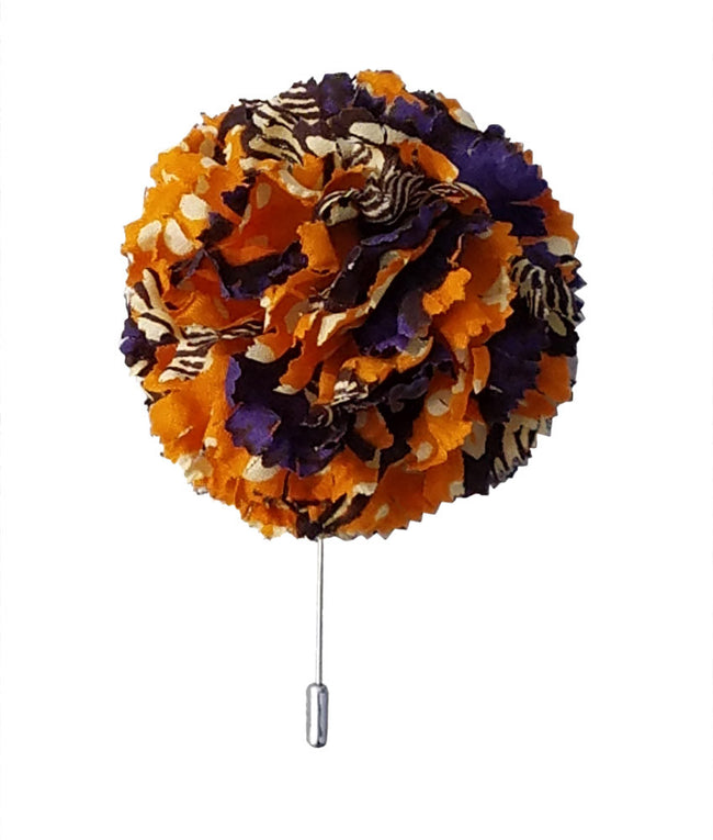 Large Lapel Flower in Orange Crush