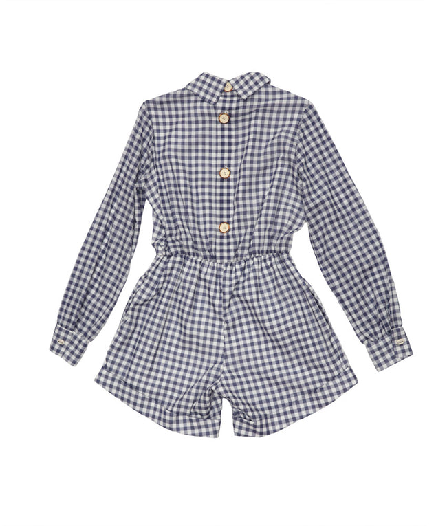 Iggy Romper in Blue and White Gingham
