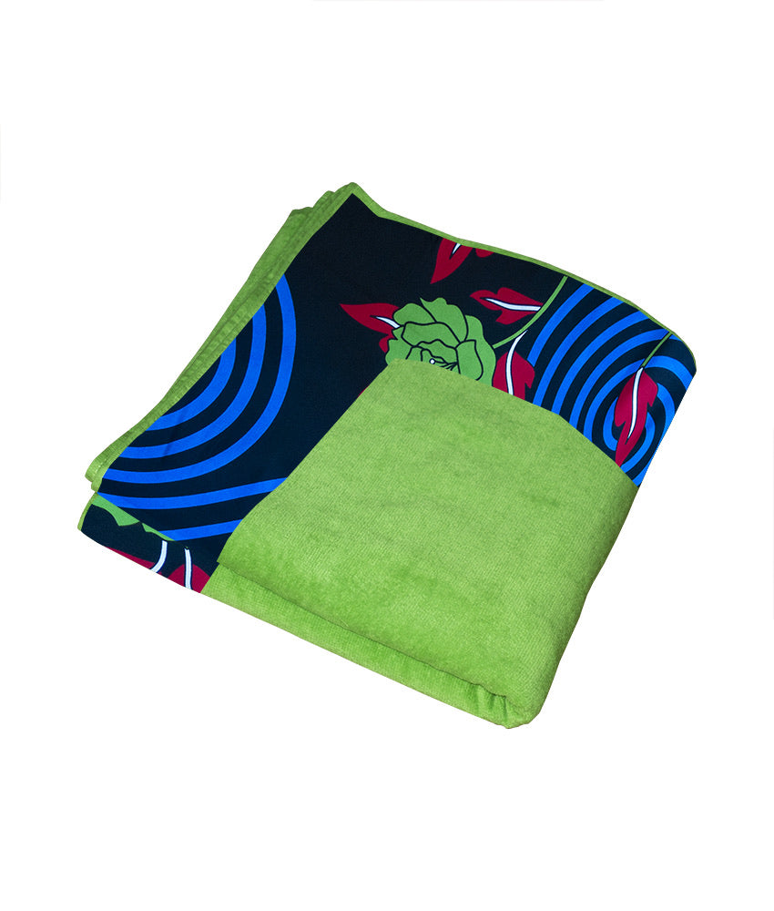 XL Towel in Lime Green & Black Flora