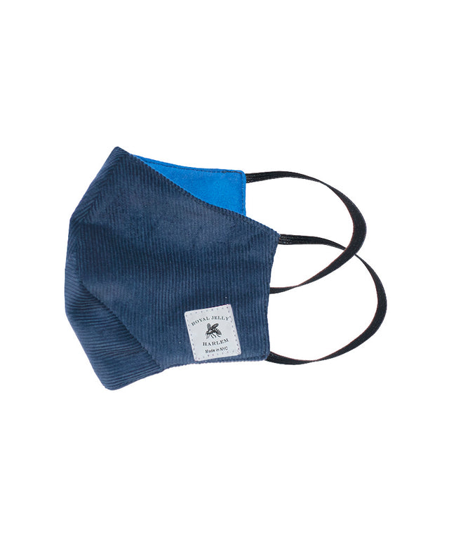 Adult Mask in Port Blue Corduroy