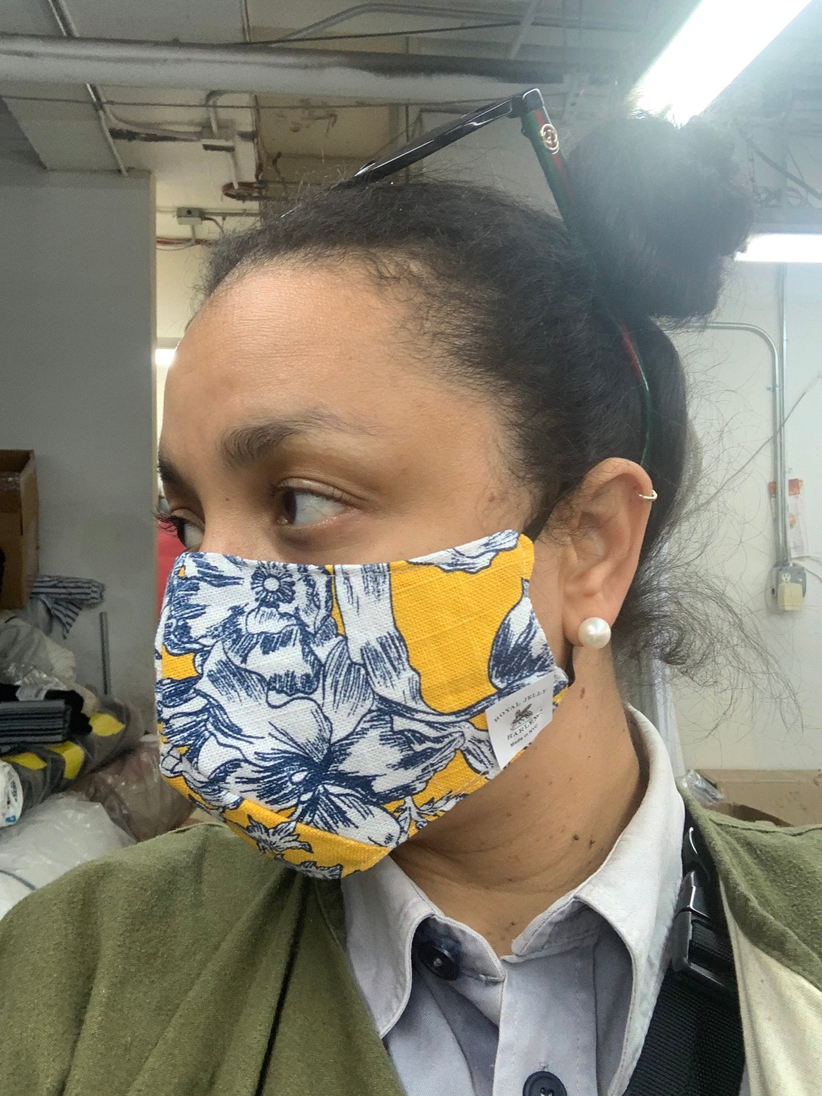 Adult Mask in Yellow Toile