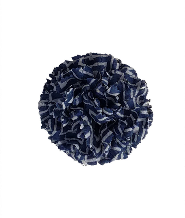 Lapel Flower in Indigo Zig-Zag