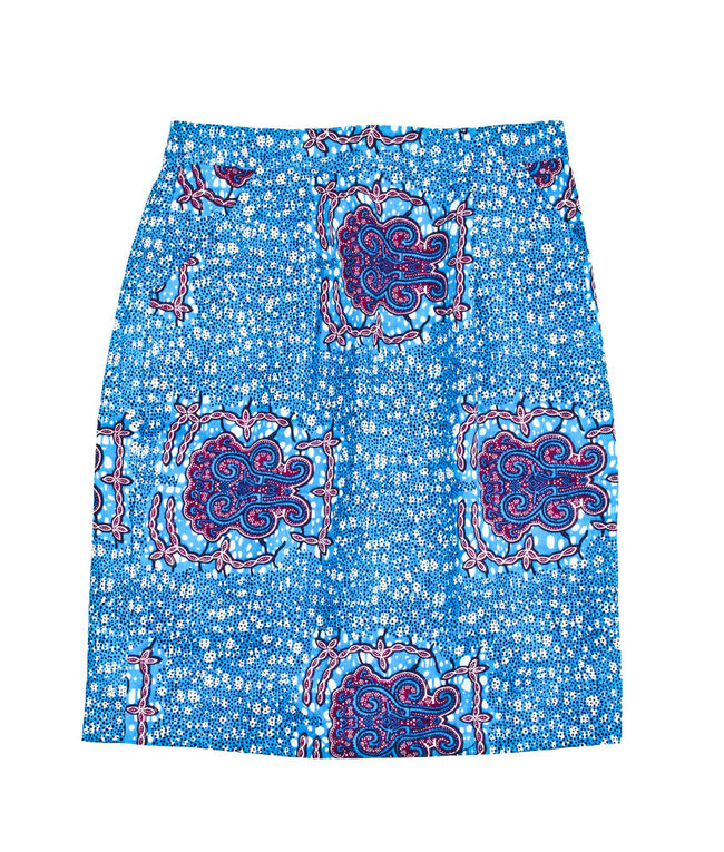 Pencil Skirt in Blue Ganesha