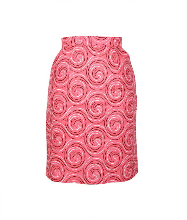 Pencil Skirt in Pink Swirls