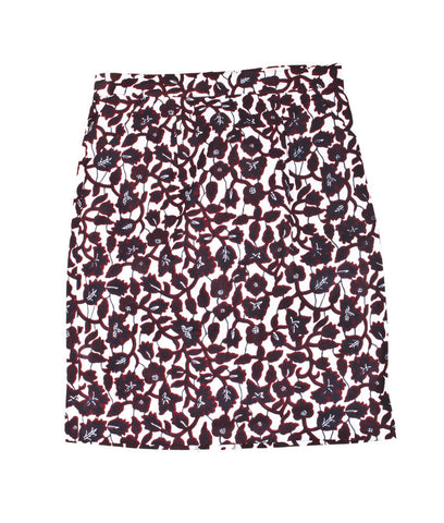 Pencil Skirt in Burgundy Flowers