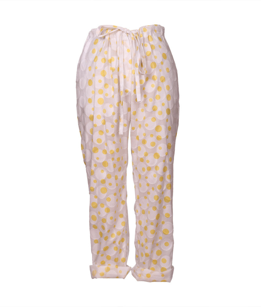 Cabana PJ Set in Yellow Polka Dots