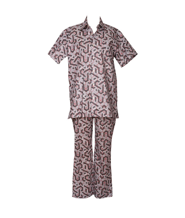 Cabana PJ Set in Art Deco Grey