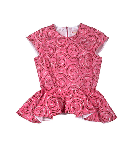 Poppy Peplum in Pink Swirls