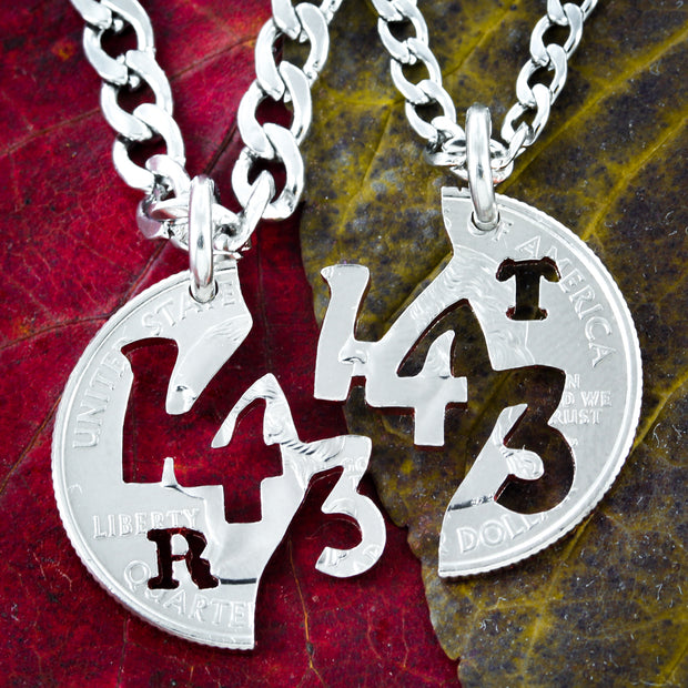 143, I Love You, With Initials, hand cut coin