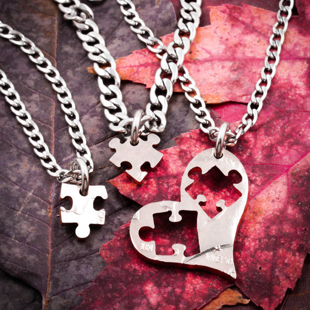 41a96ec1d4017 3 Pieces Of My Heart Necklaces, 3 Best Friends, Puzzle Pieces Cut From A  Heart