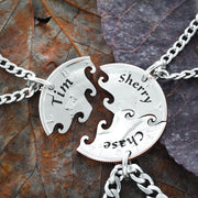3 Best Friend Necklace, Custom Name Necklaces, Interlocking Puzzle Jewelry