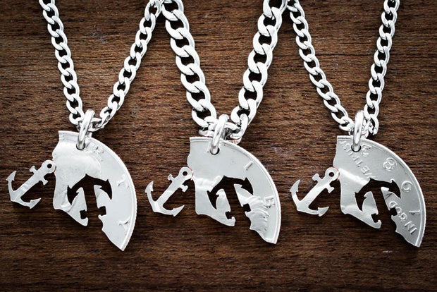 3 Best Friends Anchor Necklaces, Nautical Jewelry Hand cut coin