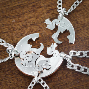 4 BFF Squirrel Necklaces, Family Squirrel Squad Coin Gift