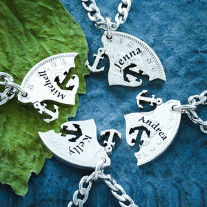 Silver 4 Best Friend Anchor Necklaces with Custom Names Engraved on Silver Coin