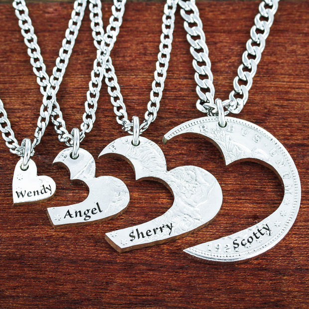 4 Best Friends Heart Necklaces Custom Names Engraved, Friendships or Family