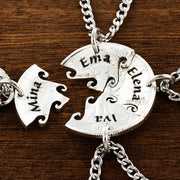 4 Best Friend Necklace, Custom Name Necklaces, Interlocking Puzzle Jewelry