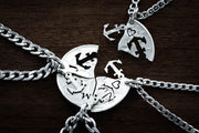 Anchor for Life Personalized Necklaces, 4 Best Friends Initials Coin